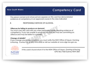 RSA NSW competency card back